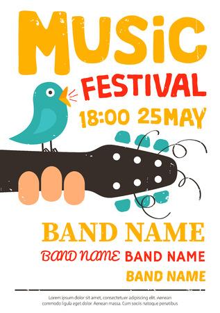 Illustration pour Music festival poster, flyer with a bird singing on a guitar - image libre de droit