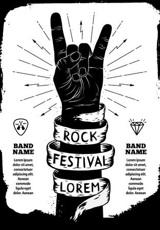 Illustration pour Rock festival poster. Rock and Roll hand sign - image libre de droit