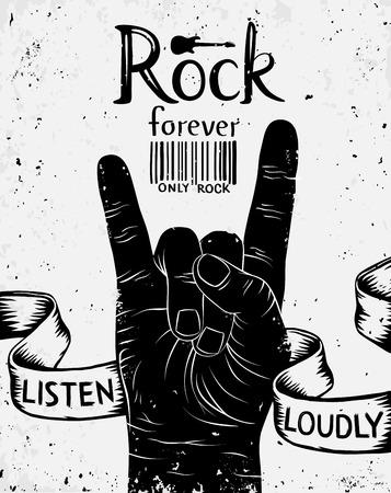 Illustration pour Vintage label with rock forever. Rock and Roll hand sign - image libre de droit
