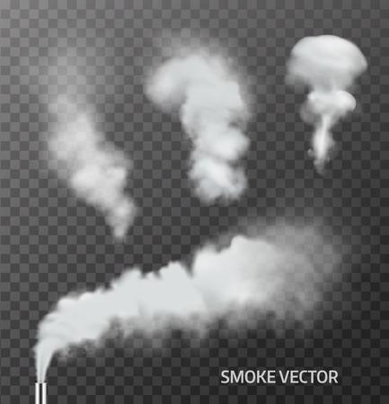 Ilustración de Set of realistic smoke, steam on transparent background. Vector - Imagen libre de derechos