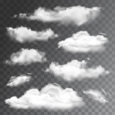 Illustration pour Set of transparent realistic clouds. Vector illustration - image libre de droit