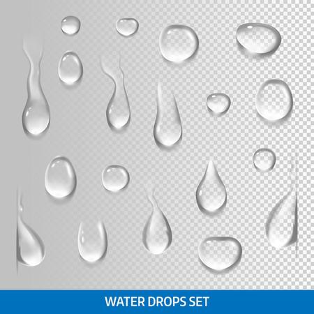 Illustration pour Realistic drops pure, clear water. Isolated vector - image libre de droit