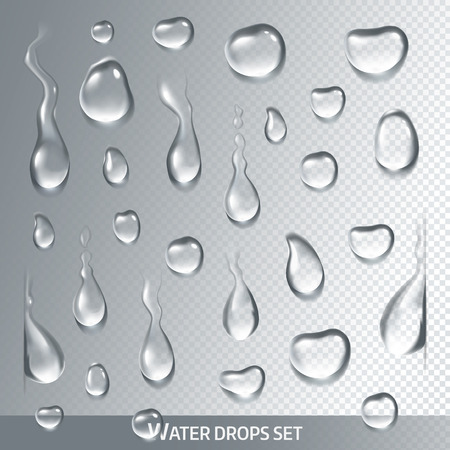 Realistic drops pure, clear water on light gray background. Isolated vector