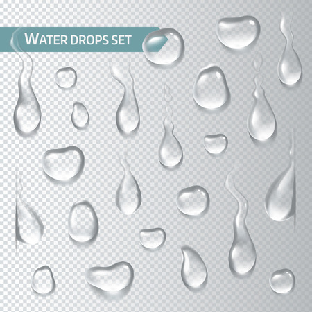 Droplets of water on a transparent background. Vector illustration