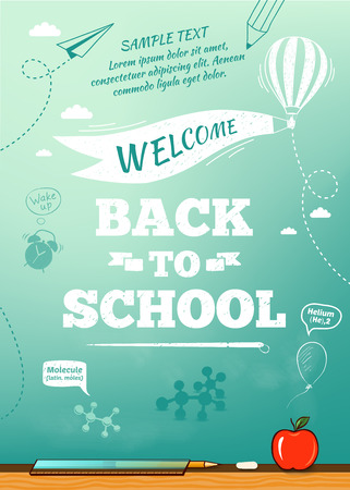 Photo for Back to school poster, education background. Vector illustration - Royalty Free Image