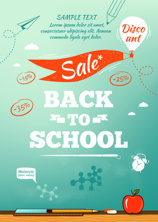 Photo for Back to school sale poster. Vector illustration - Royalty Free Image