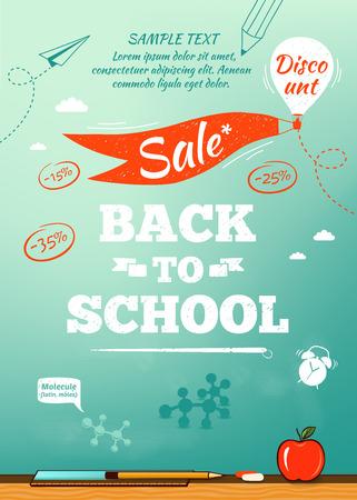 Foto de Back to school sale poster. Vector illustration - Imagen libre de derechos