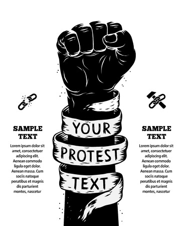 Ilustración de Raised fist held in protest. Vector illustration - Imagen libre de derechos