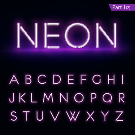 Illustration for Realistic neon alphabet. Purple, blue glowing font. Vector format   - Royalty Free Image