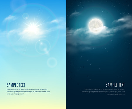 Illustration pour Day and night illustration. Sky background - image libre de droit