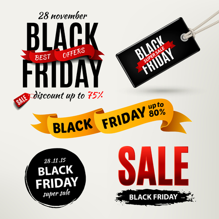Illustration pour Black friday sale design elements. Black friday sale inscription labels, stickers. Vector illustration - image libre de droit