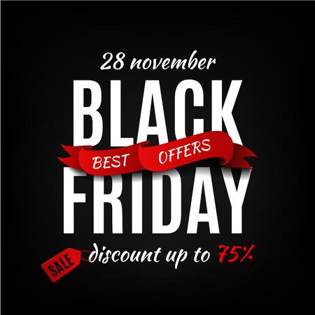 Illustration for Black friday sale design template. Black friday banner - Royalty Free Image