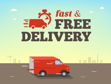 Illustration pour Illustration of  fast shipping concept. Truck van of delivery rides at high speed - image libre de droit