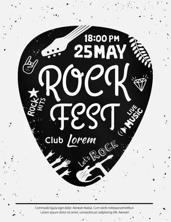 Illustration pour Vintage rock festival poster with Rock and Roll icons on grunge background. - image libre de droit