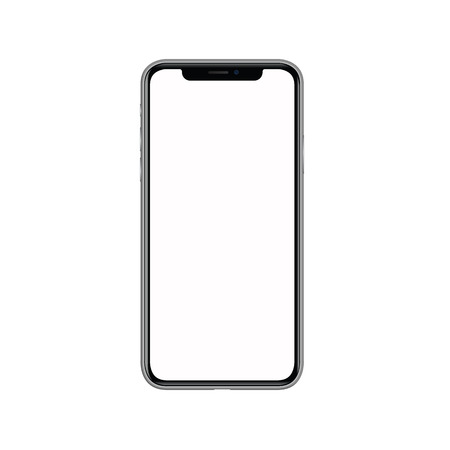 Ilustración de iphone x with blank white screen. Isolated on white background. Realistic vector illustration..  Advertisement,background,black,blank,business,button,call,cell,cellphone,cellular,commercial,communication,concept,connection,design,device,digital,display,el - Imagen libre de derechos