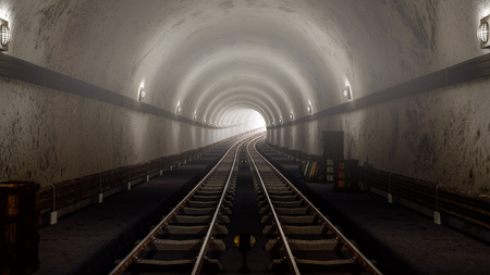 Photo for realistic old Subway metro tunnel,and arriving concept. 3D render. - Royalty Free Image