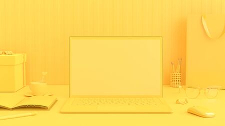 Photo pour Minimal idea concept, Laptop on Work desk table yellow color with notebook, cup coffee, mouse, sunglasses and gift box. Mock-up for your text, 3d render. - image libre de droit