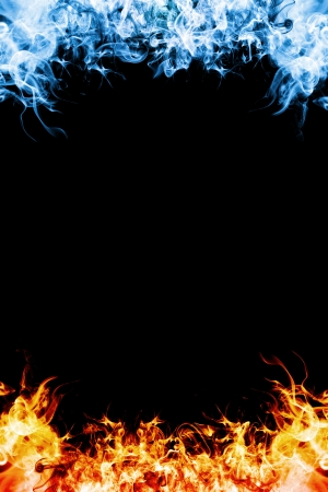 Red and blue fire frame on balck background