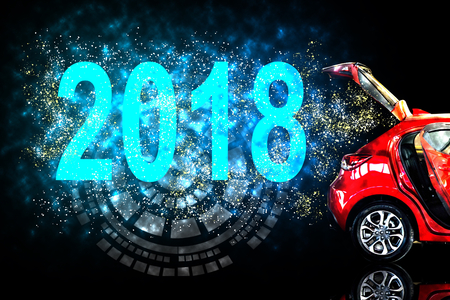 Foto für Car tail light red color with vector 2018 for customers. Using wallpaper or background for transport or automotive and happy new year image. - Lizenzfreies Bild