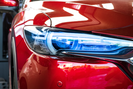 Photo for Led headlight car for customers. Using wallpaper or background for transport and automotive image. - Royalty Free Image