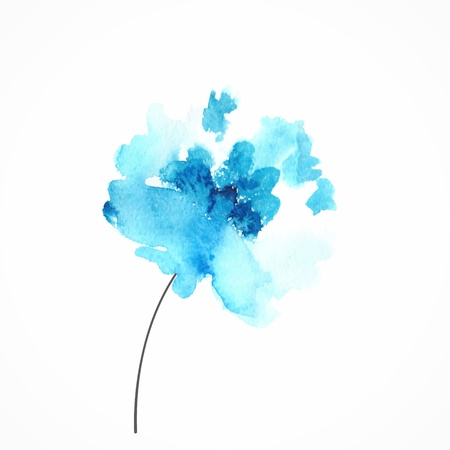 Ilustración de Blue flower  Watercolor floral illustration  Floral decorative element  Vector floral background  - Imagen libre de derechos