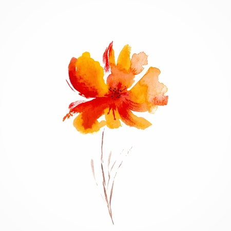 Ilustración de Orange flower  Watercolor floral illustration  Floral decorative element  Vector floral background  - Imagen libre de derechos