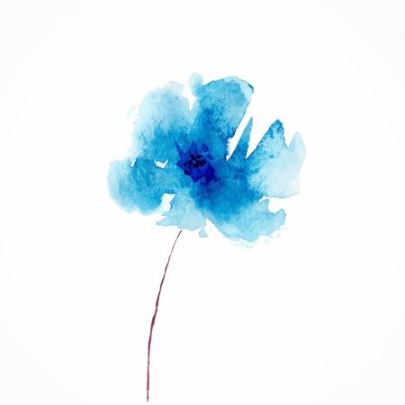 Illustration pour Blue flower  Watercolor floral illustration  Floral decorative element  Vector floral background  - image libre de droit