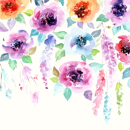 Illustration pour Floral background. Watercolor floral bouquet. Birthday card. Floral decorative frame. - image libre de droit