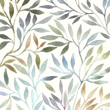 Illustration pour Watercolor floral pattern. Leaves background. Greeting card. - image libre de droit
