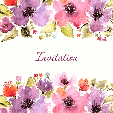 Illustration pour Birthday floral card. Wedding invitation. Floral background. Watercolor floral bouquet. Floral decorative frame. - image libre de droit
