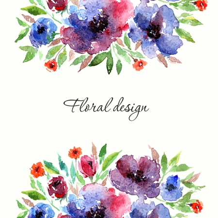 Illustration for Birthday floral card. Floral background. Watercolor floral bouquet. Floral decorative frame. - Royalty Free Image