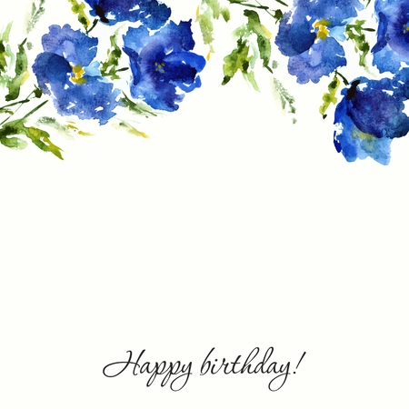Illustration pour Blue floral background. Watercolor flowers. Birthday or wedding design. - image libre de droit