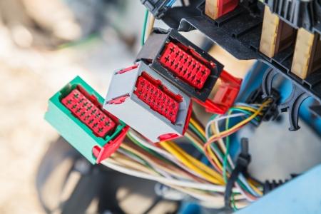 Photo pour Close up photo of the car electrical system - image libre de droit