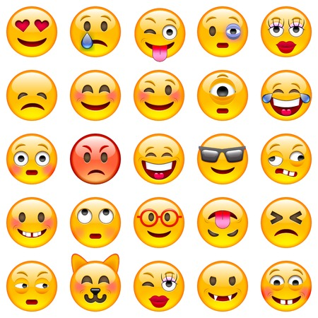 Ilustración de Set of Emoticons. Set of Emoji. Isolated  illustration on white background - Imagen libre de derechos
