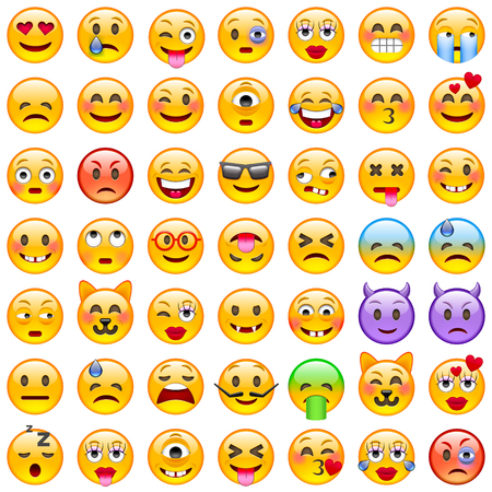 Illustration pour Set of Emoticons. Set of Emoji. Smile icons. Isolated illustration on white background - image libre de droit