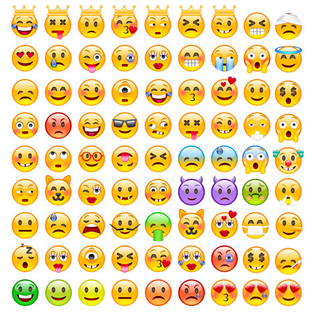 Illustration pour Abstract Funny Set of Emoticons. Set of Emoji. Good Mood Smile Icons. Emotions of Happiness, Love, Anger, Frustration, Eagerness. - image libre de droit