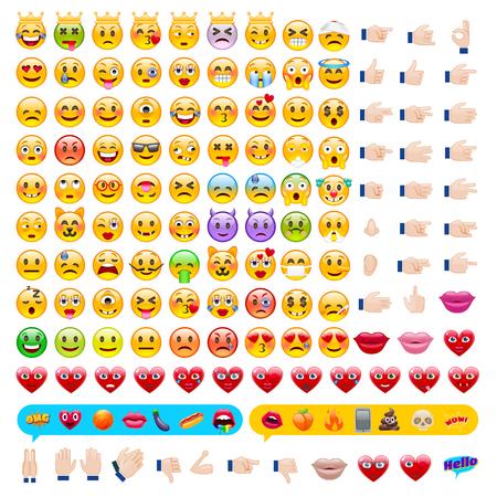 Ilustración de Set of Emoticons. Set of Emojis. Smile icons. Isolated vector illustration on white background - Imagen libre de derechos