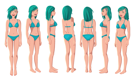 Vector Illustration of Smiling Women in Green Bikini on a White Background. Cartoon Realistic Girls Set. Flat Young Lady. Front View Woman. Side View Woman. Back Side View Woman. Seven Positions