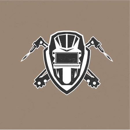 Ilustración de Retro vintage design logo with masks of the welder vector illustration - Imagen libre de derechos