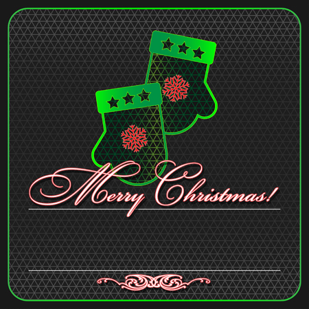 Illustration pour Greeting card for christmas. Neon and grid. - image libre de droit