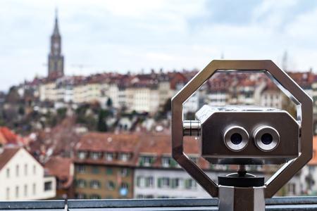 Foto de Panoramic view of Bern old town and binoculars, Switzerland - Imagen libre de derechos