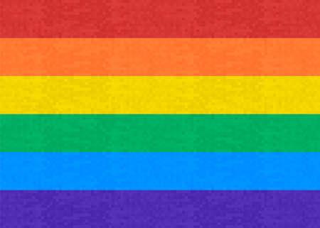 Ilustración de Pixel flag. Gay Pride 8 bit. Rainbow pixel art. 8bit. LGBTQ. LGBTQ +. LBGT. - Imagen libre de derechos