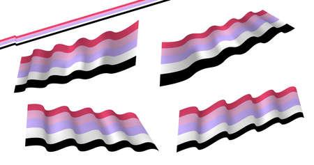 Ilustración de Gender fluid flag or trans banner with blue and pink strips vector. Genderfluid flag, flat and waving flag. Vector illustration. Flag wavy abstract background. - Imagen libre de derechos