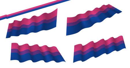 Ilustración de Bisexual flat and waving flag. Vector illustration. Flag wavy abstract background. Bisexual canvas movement lgbt - Imagen libre de derechos