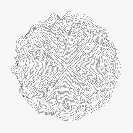 Ilustración de Abstract monochrome vector background illustration. Round random decorative composition. Rippled wavy circle. Minimalist generative linear shape. Modern element of design. - Imagen libre de derechos