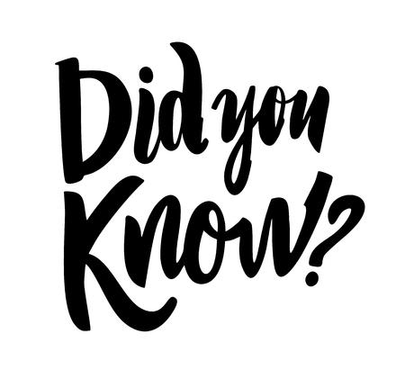 Illustration pour Did you know. Modern brush calligraphy vector lettering. - image libre de droit