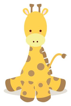 baby giraffe sit down like cute style
