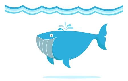 Illustration for blue big whale under the sea illustration - Royalty Free Image