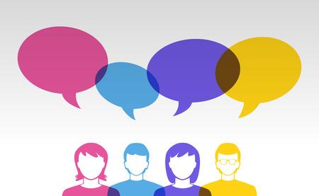 Ilustración de people icons and colorful speech bubbles - Imagen libre de derechos