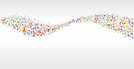 Illustration pour music color wave banner with notes - image libre de droit